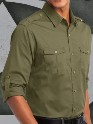 S649-ODX - Port Authority® Stain Resistant Roll Sleeve Twill Shirt