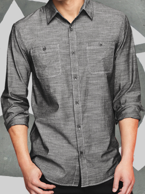 District Made® Mens Long Sleeve Washed Woven Shirt