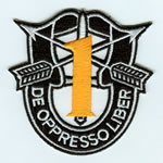 Special Forces Crest Patch with 1st Group Number (Gold Number) - Item Number: P-01000