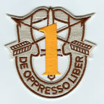 Special Forces Crest Patch with 1st Group Number (Desert w/ Gold) - Item Number: P-01400D
