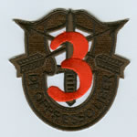 Special Forces Crest Patch with 3rd Group Number (Subdued w/ Red) - Item Number: P-01700S