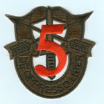 Special Forces Crest Patch with 5th Group Number (Subdued w/ Red) - Item Number: P-02200S
