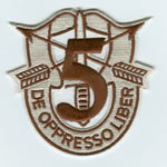 Special Forces Crest Patch with 5th Group Number (Desert) - Item Number: P-02300D