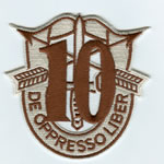 Special Forces Crest Patch with 10th Group Number (Desert) - Item Number: P-03300D