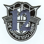 Special Forces Crest Patch with 12th Group Number - Item Number: P-03800