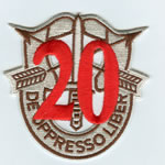 Special Forces Crest Patch with 20th Group Number (Desert w/ Red) - Item Number: P-05000D