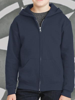993B - Jerzees Full-Zip Hooded Youth Sweatshirt