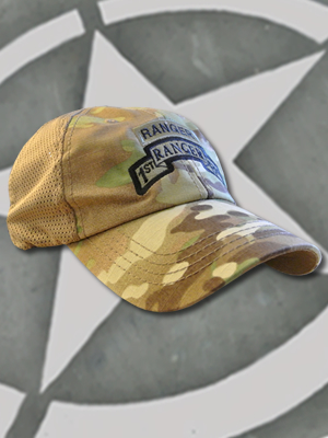 TCT-MESH-008-Emblem009 - SpartanCap 1st Ranger Battalion with Ranger Tab (#009) Mesh Tactical Team Cap Multicam
