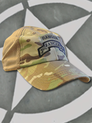 TCT-MESH-008-Emblem031 - SpartanCap 3rd Ranger Battalion with Ranger Tab (#031) Mesh Tactical Team Cap Multicam