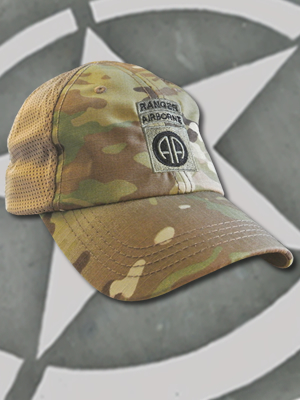 TCT-MESH-008-Emblem074 - SpartanCap 82nd Airborne Division with Ranger Tab (#074) Mesh Tactical Team Cap Multicam