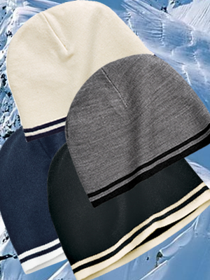 Port & Company Fine Knit Skull Cap with Stripes - CP93