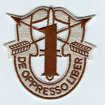 Special Forces Crest Patch with 1st Group Number (Desert) - Item Number: P-01300D