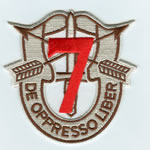 Special Forces Crest Patch with 7th Group Number (Desert w/ Red) - Item Number: P-02900D