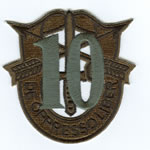 Special Forces Crest Patch with 10th Group Number (Subdued w/ Green) - Item Number: P-03200S