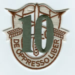 Special Forces Crest Patch with 10th Group Number (Desert w/ Green) - Item Number: P-03400D