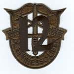 Special Forces Crest Patch with 12th Group Number (Subdued) - Item Number: P-03900S