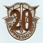Special Forces Crest Patch with 20th Group Number (Desert ) - Item Number: P-04900D